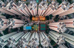 Cao ốc san sát ở Hong Kong nhìn từ trên cao